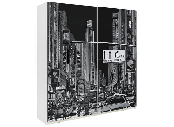 Skříň S Posuvnými Dveřmi Plakato New York - bílá/černá, Moderní, kov/kompozitní dřevo (170,3/190,5/61,2cm)