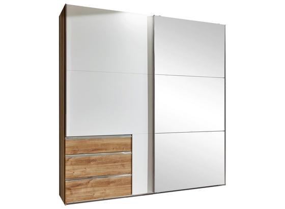 Schwebetürenschrank mit Spiegel 200cm Level 36a, Weiß Dekor - Eichefarben/Weiß, MODERN, Glas/Holzwerkstoff (200/216/65cm)
