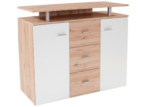 Kommode mit Aufsatz B 120cm Leon, Eiche Dekor/Weiß - Eichefarben/Erlefarben, MODERN, Holzwerkstoff (120/92,3/40cm)