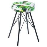 Hocker Kira Vogeloptik - Multicolor/Schwarz, MODERN, Textil/Metall (30/51cm)