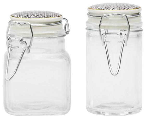 Vorratsglas 4,5 cm - Goldfarben/Schwarz, MODERN, Glas/Keramik (4,5/9cm)