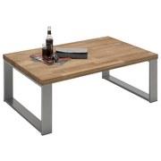 Couchtisch Echtholz Massiv + Edelstahl Leon, Eiche Geölt - Eichefarben/Alufarben, Design, Holz/Metall (110/70/41,5cm) - Hom`in