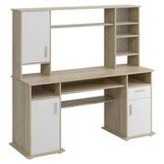 Schreibtisch mit Stauraum B 160 cm Tito, Eiche Dekor/Weiß - Eichefarben/Weiß, Basics, Holzwerkstoff/Kunststoff (160/154/52,8cm) - P & B