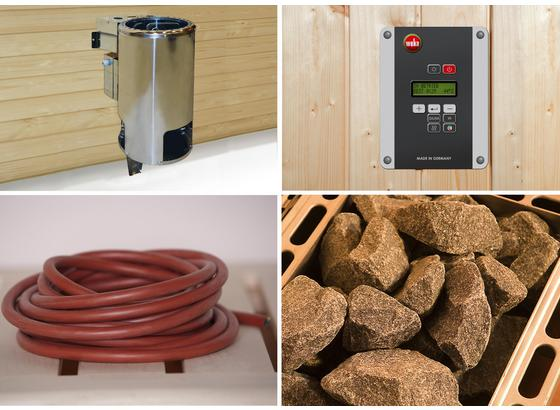 Saunaofen Set 3,6 Kw, Bios, 230 V - Alufarben, MODERN, Metall (32,5/51/41cm)