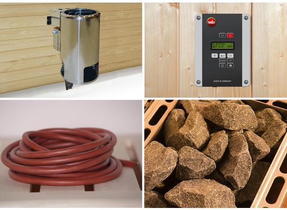Saunaofen-Set Bioaktiv, Ext. Steuerung 3,6 Kw 4-Tlg. Bios - Alufarben, MODERN, Metall (32,5/51/41cm)