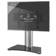 TV-Rack Windoxa Maxi B: 80 cm - Silberfarben/Schwarz, KONVENTIONELL, Glas/Metall (80/74/40cm) - Livetastic