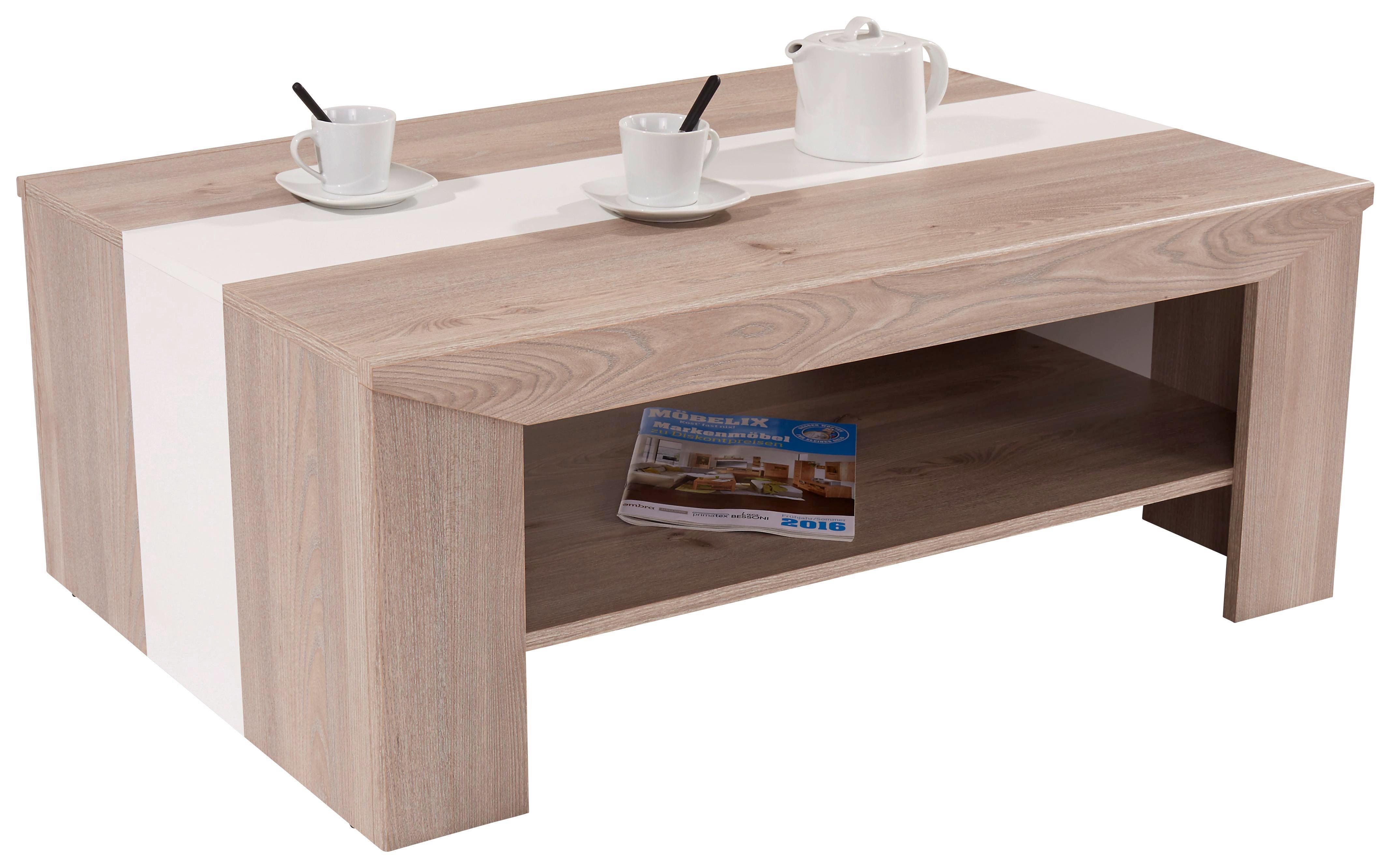 Dohányzóasztal Madras - szürke tölgy dekor/fehér, konvencionális, faanyagok (110/40/70cm) - OMBRA