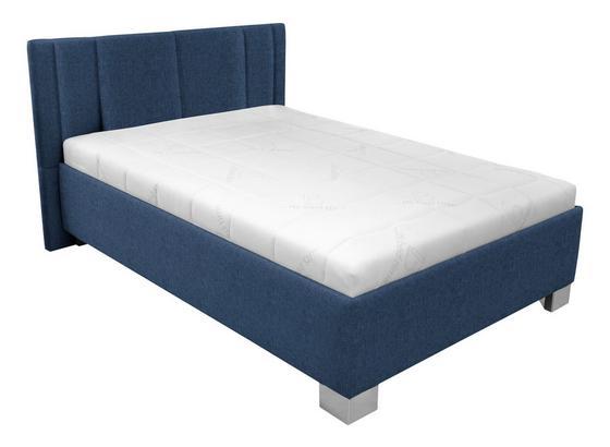 Čalouněná Postel 120x200 - bílá/tmavě modrá, dřevo/textil (214/149/97cm)