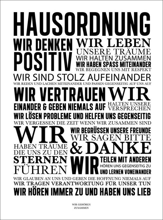 Keilrahmenbild Hausordnung II - Schwarz/Weiß, Holz/Holzwerkstoff (57/77cm)