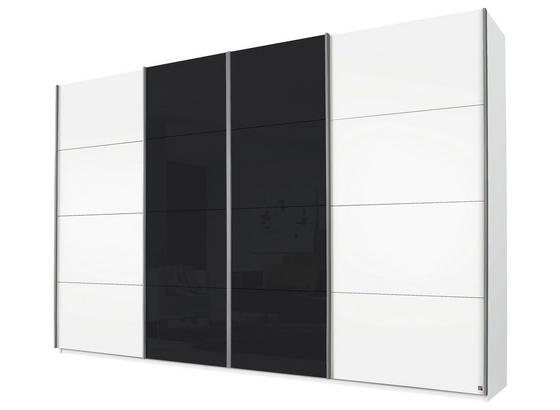Schwebetürenschrank 316cm Bensheim - Dunkelgrau/Weiß, MODERN, Glas/Holzwerkstoff (316/211/62cm) - James Wood