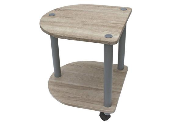 Odkladací Stolík Felix - farby dubu/sivá, Moderný, kov/kompozitné drevo (40/45/40cm)