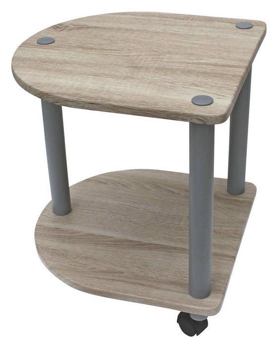 Odkladací Stolík Felix - farby dubu/sivá, Moderný, umelá hmota/kov (40/45/40cm)