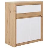 Kommode Kashmir New B:84cm Artisan Eiche Dekor/ Weiß - Eichefarben/Weiß, MODERN (84/98/41cm) - James Wood