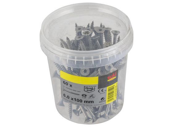 Spanplattenschrauben 60 Stk. - Silberfarben, MODERN, Metall (12/12/12,5cm) - Suki