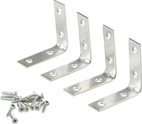 Möbelwinkel 5 / 5 cm 4 Stk./Pkg. - Silberfarben, KONVENTIONELL, Metall (1.6/5/5cm)