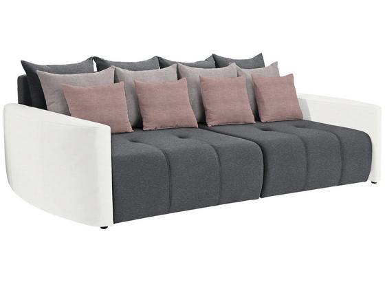 Bigsofa mit Schlaffunktion Bettkasten und Kissen Havanna - Hellrosa/Dunkelgrau, MODERN, Textil (290/80/140cm) - Luca Bessoni