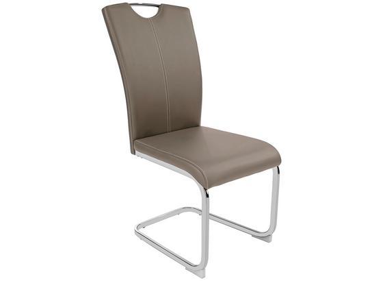 Stolička Conny - bahenná hnedá/biela, Moderný, kov/textil (44/96,5/59cm)