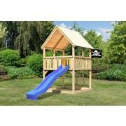 Spielturm Toni Set M - Blau/Naturfarben, Holz (200/345/200cm) - Karibu