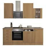 Küchenblock Nano 220 cm Buche - Buchefarben/Creme, MODERN, Holzwerkstoff (220/230/60cm) - FlexWell.ai