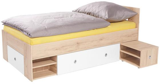 Postel Azurro 90x200cm - bílá/barvy dubu, Moderní, dřevěný materiál (204/75/95cm)