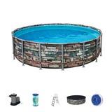 Schwimmbecken Power Steel Pool - Blau/Weiß, MODERN, Kunststoff/Metall (488/122cm) - Bestway