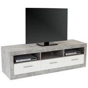 TV-Lowboard Malta B: 185 cm Betonoptik, Weiß - Schwarz/Weiß, MODERN, Holzwerkstoff (185/50/42cm)