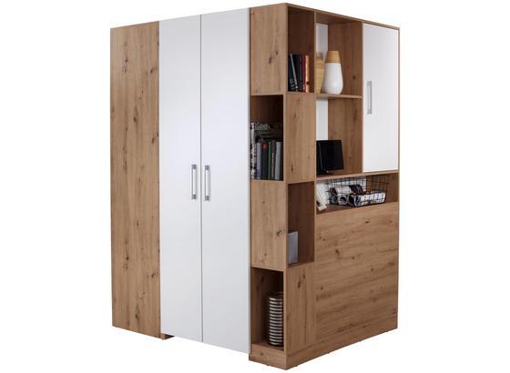 Eckschrank Box B:150cm Artisan Eiche/Weiß Dekor - Eichefarben/Weiß, MODERN, Holzwerkstoff (150/205/120cm)
