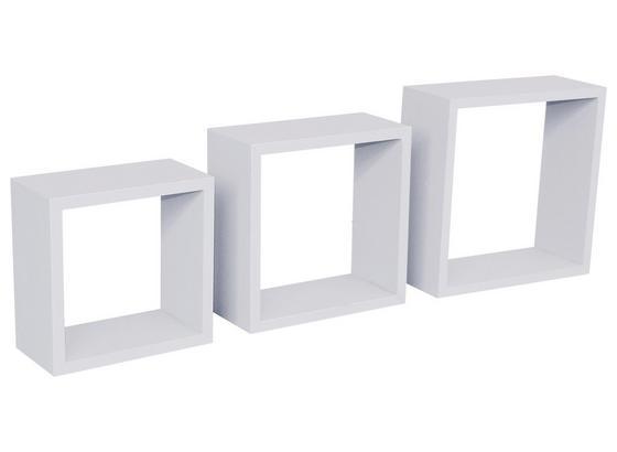 Nástenný Regál Simple 3 - biela, Moderný, plast (30/30/12cm)