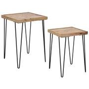 Couchtisch Industrial 2er Set - Schwarz/Braun, MODERN, Holz/Metall (40/40/58cm)