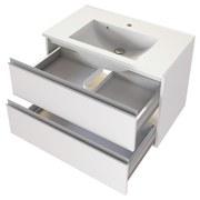 Badmöbel-Set 2-Tlg. inkl. Led Arezzo B: 80 cm, Weiß - Weiß, Basics, Holzwerkstoff/Stein (80cm) - MID.YOU