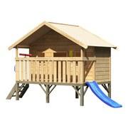 Spielturm Stelzenhaus Lukas Set - Blau/Naturfarben, Holz (242/232/153cm) - Karibu