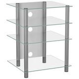 TV-Regal Bilus B: 54 cm Silber, Glas - Klar/Silberfarben, KONVENTIONELL, Glas/Metall (54/70/47cm) - Livetastic