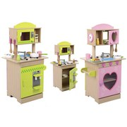 Kinderküche aus Holz Beidseitig Bespielbar, H: 90cm - Naturfarben/Rosa, Basics, Holz (46/90/34,5cm)
