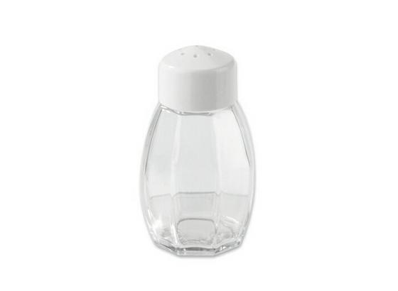 Salzstreuer 8 cm - Transparent/Weiß, KONVENTIONELL, Glas/Kunststoff (80mm) - Fackelmann
