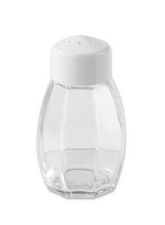 Salzstreuer 8 cm - Transparent/Weiß, KONVENTIONELL, Glas/Kunststoff (80mm)