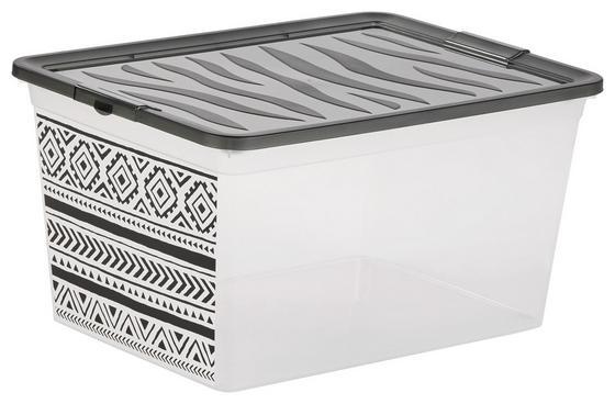 Aufbewahrungsbox Boho Peru - Weiß/Grau, KONVENTIONELL, Kunststoff (38,4/19,9/28,3cm)