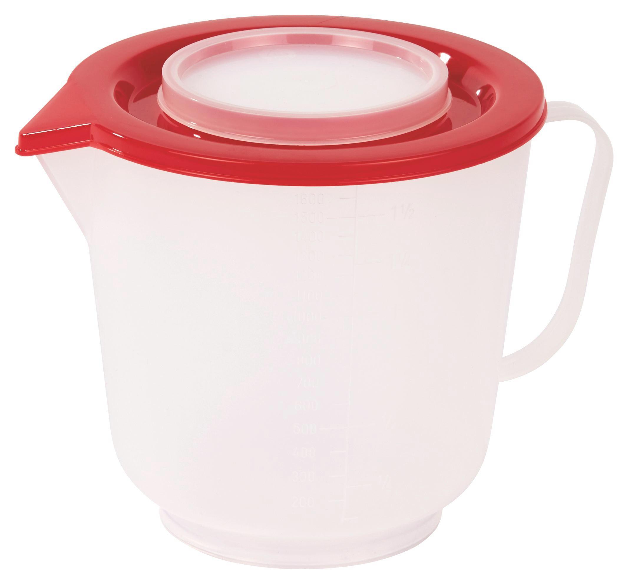 Keverőtál Fedővel - natúr színek/piros, konvencionális, műanyag (14.5/14.5cm)
