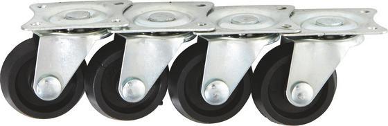 Lenkrollen 4 Stück - Silberfarben/Schwarz, KONVENTIONELL, Kunststoff/Metall (3,2cm)