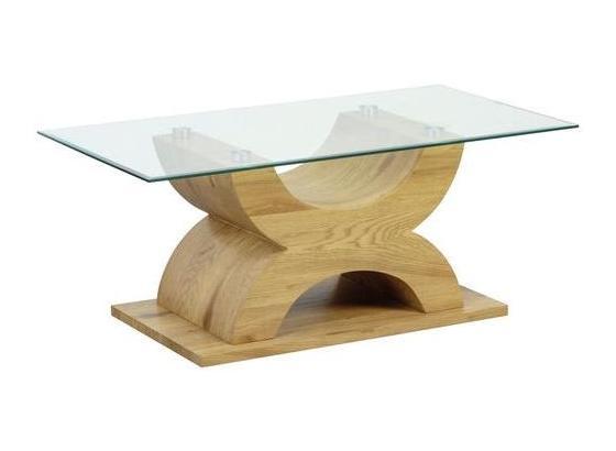 Couchtich Holz mit Glasplatte X-Form, Eiche Dekor - Eichefarben, Basics, Glas/Holzwerkstoff (110/45/60cm) - Livetastic
