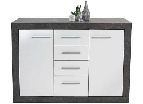 Komoda Sideboard Iguan - biela/tmavosivá, Moderný, kompozitné drevo (120,2/85,1/34,8cm)
