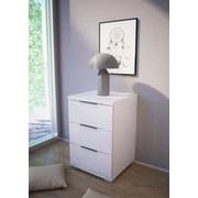 Nachtkästchen Weiß H: 61 cm - Silberfarben/Weiß, Basics, Holzwerkstoff (46/61/42cm) - MID.YOU