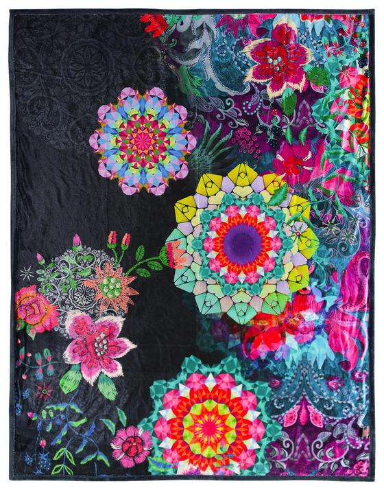 Kuscheldecke Tamaki - Anthrazit/Multicolor, Textil (130/160cm)