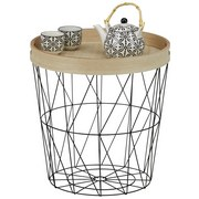 Odkládací Stolek Nisa - černá/přírodní barvy, Moderní, kov/kompozitní dřevo (40/42/40cm) - Modern Living