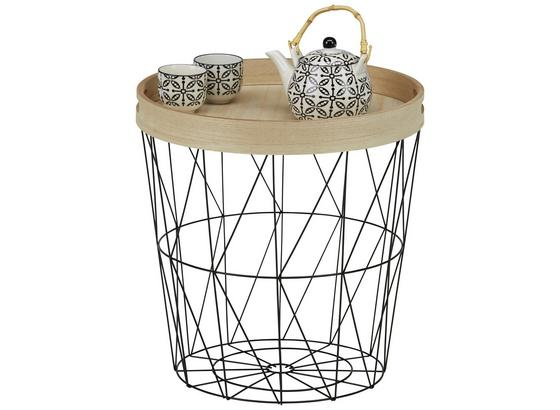 Odkladací Stolík Nisa - prírodné farby/čierna, Moderný, kov/kompozitné drevo (40/42/40cm) - Modern Living