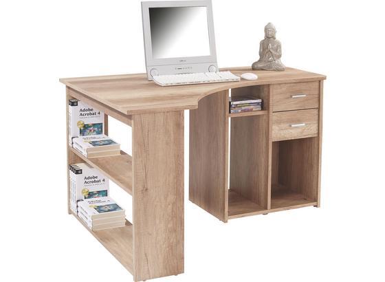 Rohový Písací Stôl Gemo Fu Pc 56 - biela, Moderný, kompozitné drevo (135/74,2/95cm) - Sonne