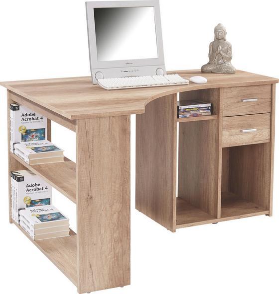 Rohový Psací Stůl Gemo Fu Pc 56 - bílá, Moderní, dřevěný materiál (135/74,2/95cm) - Sonne