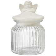 Vorratsglas Angel - Klar/Weiß, KONVENTIONELL, Glas/Keramik (11/16cm)