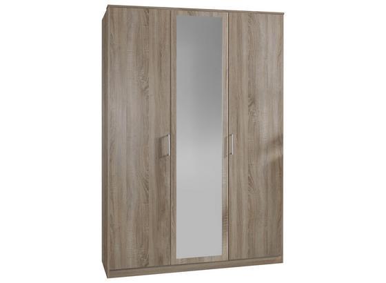 Drehtürenschrank mit Spiegel 135cm Osaka, Sägerau Dekor - Eichefarben, KONVENTIONELL, Glas/Holzwerkstoff (135/199/58cm) - Xora
