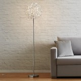 Led Stojaca Lampa Clea - hliníkové farby/chrómová, Moderný, kov (40/160cm) - Modern Living