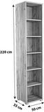 Aktenregal Profi - Chromfarben/Eichefarben, MODERN, Holzwerkstoff (50/220/35cm) - Ombra